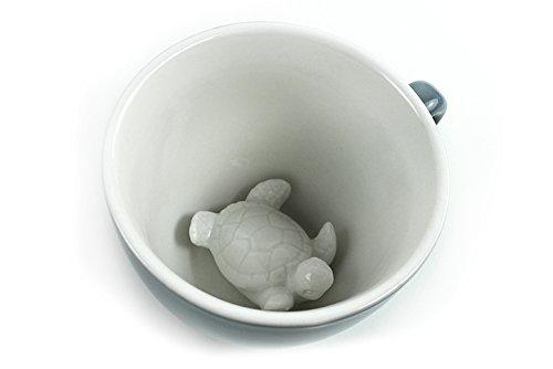 (Ceature Cups Schildkröte-Keramiktasse (325 Milliliter, Graublau) | Auf der Innenseite versteckte Tiermotive | Weihnachts- und Geburtstagsgeschenk für Kaffee- und Teeliebhaber)