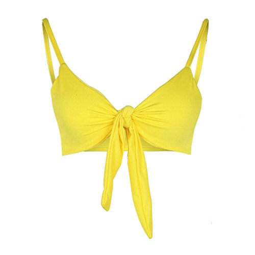 Donne Fionda Costume Da Bagno Con Schienale, Dragon868 New Fashion Solid Alta Vita Bikini Set Signore Costumi Da Bagno Yellow