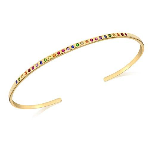 Celine d'Aoust 14 ct Yellow Gold Rainbow Sapphires Flush Setting Bangle