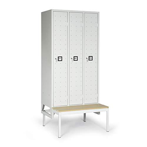 BULTO Spindschrank Umkleideschrank, Sitzbank, Griffmulden - BxTxH 1.200 x 500/815 x 2.100 mm - 3 Fächer