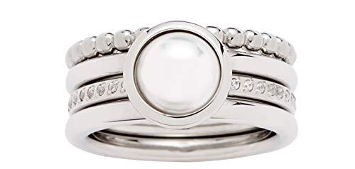 JEWELS BY LEONARDO Damen-Ring Perla, Edelstahl mit Imitationsperle und Schliffkristallen, Größe 19, 016870