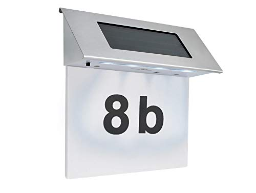 MALATEC Hausnummer Solar 4 x LED Solarleuchte Solarhausnummer Edelstahl #295