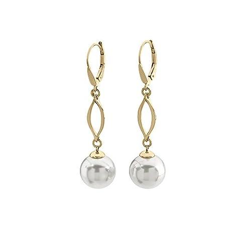 Majorica französischen Verschluss 12 mm runden Perlen, Weiß