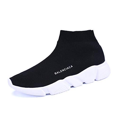 GUNAINDMX Nouveau Baskets Femme Couple Unisexe Respirant Haut-Haut Chaussures de Sport étudiant Chaussures de Sport Chaussettes Chaussures Sneakers Outdoors Jogging Formateurs,Noir,37