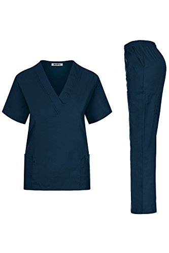 MedPro Women's Solid Medical Scrub V-Neck Top and Cargo Pants