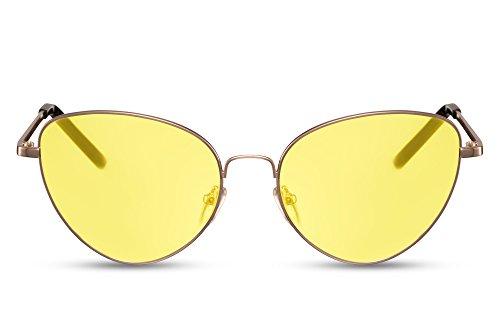Cheapass Damen Sonnenbrille Cat-Eye Runde Gläser Gelb Gold UV400 Metall