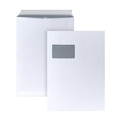 POSTHORN 05270358 Versandtasche mit Fenster, haftklebend, 250 Stück, C4, 229 x 324 mm, 120 g, weiß