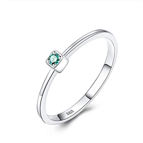 XCWXM Ringe 925 Sterling Silber Grüner Topas Trauringe Für Frauen Minimalist Thin Circle Gem Ringe Schmuck 9 (Frauen Für Stein-ringe Gem)