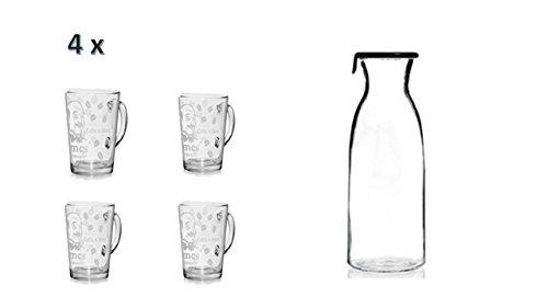 Wasserkaraffe mit Deckel + Gläser mit Henkel