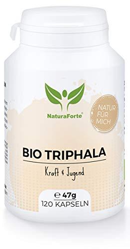 NaturaForte Bio Triphala 120 Kapseln, Wirksame Ayurvedische Rasayana aus Myrobalane-Früchten Haritaki, Amalaki und Bibhitaki - Kraft, Jugend, Abgefüllt und kontrolliert in Deutschland