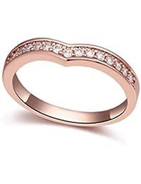 Anillo de compromiso anillo de boda Jewels-Anillo de banda anillo Partner Anillo Anillo con diamantes en oro blanco de aspecto de y plata de desido®