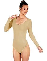 Furein Maillot de Danse Ballet Gymnastique Leotardo Body Classique  élastique pour Femme à Manches Longues col a8942f88273