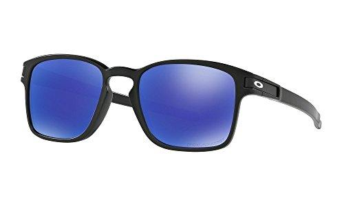 Oakley Unisex Sonnenbrille LATCH SQUARED Schwarz (Matte Black/Violetiridiumpolarized), 52