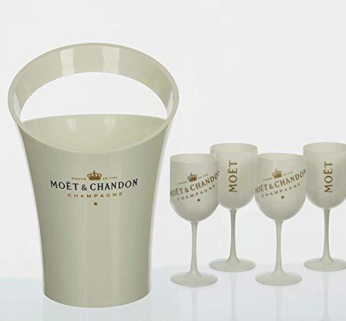 Moët & Chandon Ice Impérial Champagner Becher Kühler Glas Minzschale Set Kombipaket Geschenkpaket Präsent Acryl (Kühler + 4 Becher)