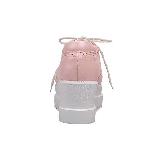 Rosa Destra Flessibile Del Solido In Scarpe Pizzo Donna Colore Materiale Voguezone009 Rotondo Di Tallone Di Leggero qaOggw