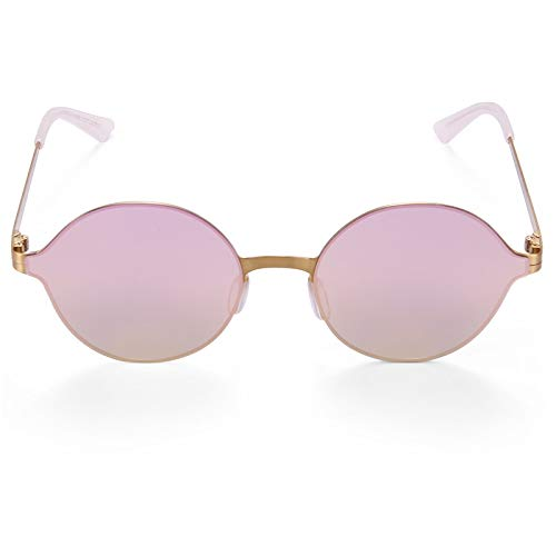 LKVNHP Hochwertige Super Licht Sonnenbrille Männer & Frauen Spiegel Beschichtung Sonnenbrille Runden Kreis Sonnenbrille Retro VintageGold Vs Rosa