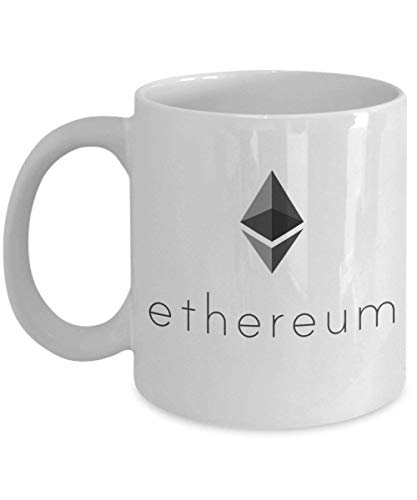 Ethereum Mug Novelty Acrylic Coffee Cup 11oz White Cofee Holder ETH Cryptocurrency Black Logo With Text Design Crypto Currency
