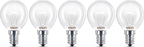 5x Philips Backofenlampe E14 40W Tropfenform 45mm Durchmesser, temperaturfest bis 300°C (5 Stück)