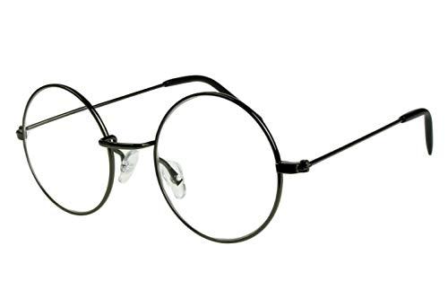 Lesebrillen Damen Herren Schwarz glänzend große runde Gläser dünner Metallrahmen leicht schmale Bügel Lesehilfe Sehhilfe 1.0 1.5 2.0 2.5 3.0 3.5 mit Etui, Dioptrien:Dioptrien 1.5