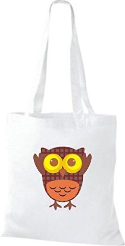 ShirtInStyle Jute Stoffbeutel Bunte Eule niedliche Tragetasche mit Punkte Karos streifen Owl Retro diverse Farbe, schwarz weiss