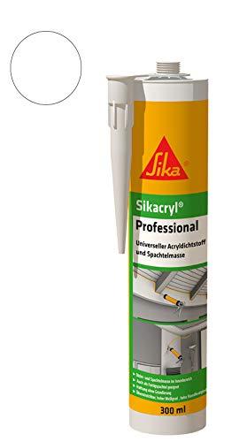 Sika Sikacryl Professional Vielseitiger Acryldichtstoff und Spachtelmasse weiß 300 ml