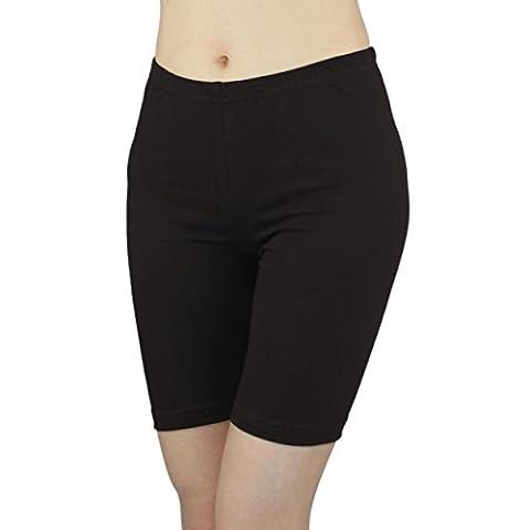 Damen Radlerhose Sport Shorts Hotpants Baumwolle Kurze Leggings oberhalb des Knies , Farbe: Schwarz, Größe: