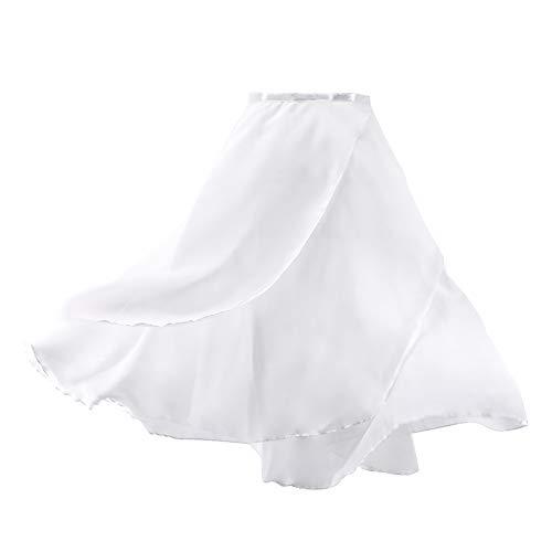 FANXQ Damen-Unterhemd Leotard-Brust V-Netz Nähen Bodysuit Tanzkleidung Gebaut Shelf Bra,Whiteskirt,M