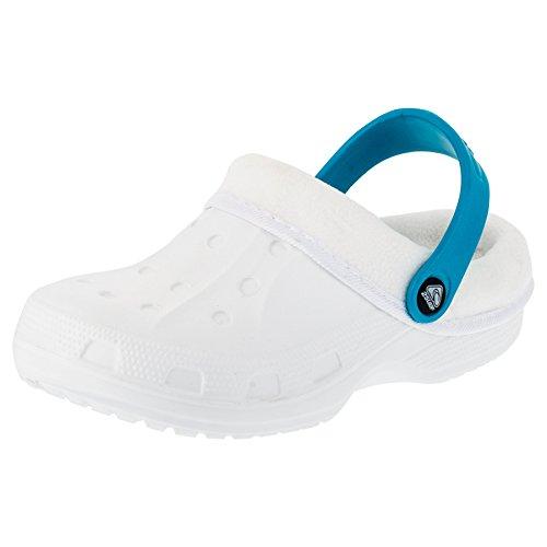 Gefütterte Kinder Clogs für Jungen und Mädchen Unisex Winter Schuhe Pantoffel M479wstü Weiß Türkis 26/27 EU