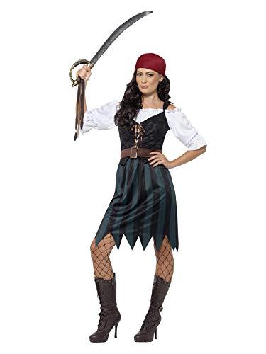 Smiffys 45491M - Damen Piraten Werftarbeiterin Kostüm, Shirt, Weste, Rock, Gürtel und Kopftuch, Größe: 40-42, blau (Piraten Kostüme Einfach)