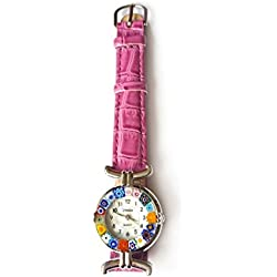 Venice One 1 Lady Watch with authentic Murano Glass certificate Millefiori lampwork with purple dark fuchsia genuine leather strap. Handmade unique and original watch