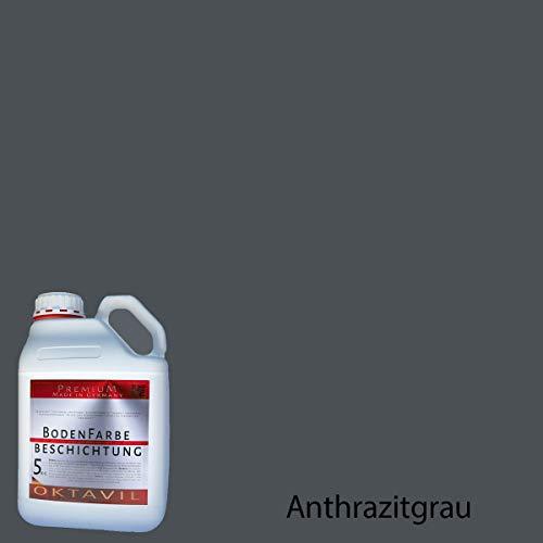 OKTAVIL Bodenfarbe Flüssigkunststoff Bodenbeschichtung Betonfarbe Beschichtung Bodenversiegelung - 5kg (Anthrazitgrau)