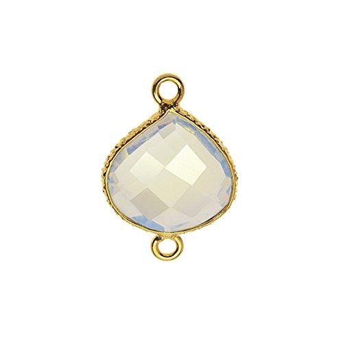 Bindeglied aus Amethyst-Glas mit goldener Lünette, 16 x 23 mm Briolette, 1 Stück, golden und lila