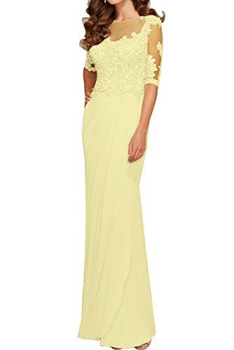 Sunvary Romantisch Spitze Arm Rund Ballkleider Neu Abendkleider Promkleider Mutterkleid Gelb