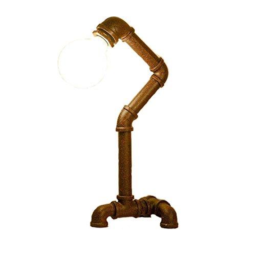 LEGELY Industrielle Retro-Schmiedeeisen Rohr Tischlampe, Schlafzimmer Wohnzimmer Café verziert Handmake Lampe E27 weißes Licht (Farbe: Rost Farbe) - Rost-finish Deckenventilator