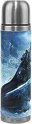 NR World of Arthas Menethil Edelstahl Doppelvakuumsauger Reisekaffeetasse Leder Frischbezug Heiß- und Kaltisolierung Doppelschicht 17 Unzen