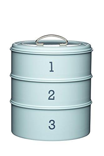 Kuchenbox mit 3 Ebenen, Blech, aus der Living-Nostalgia-Produktreihe, Blau