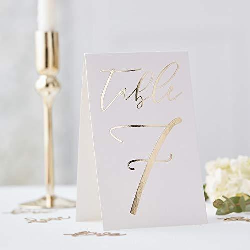 Edle Tisch-Nummern/Zahlen-Aufsteller 1-12 aus Pappe Weiß & Gold- Tisch-Deko-Ration/Gedeckter Tisch/Platz-Ordnung/Hochzeit-s-Dekoration/Geburtstags-Feier (Und Tischdekoration Gold Weiß)