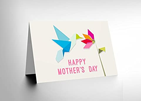 MOTHERS DAY ORIGAMI HUMMINGBIRD FLOWER BIRTHDAY BLANK GREETINGS CARD CL1115