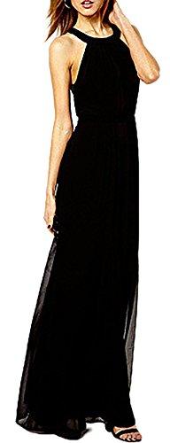 Vestito donna senza maniche abito lungo sexy abito elegante donna party Nero