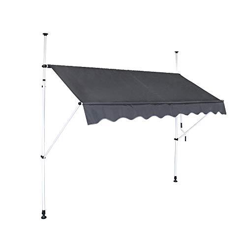 HENGMEI Markise Einziehbar 350X120cm Klemmmarkise Balkonmarkise Sonnenschutz ohne Bohren Höhenverstellbar (350cm breit, Dunkelgrau)