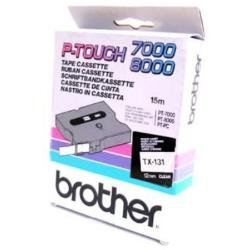 Brother TX131 Schriftbandkassetten 12mm transp/schwarz