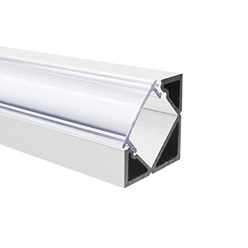 SEMI - 200 cm LED Aluminium Profil ECKE-45 in Weiss + 200 cm diffuse halbtransparente Abdeckung für LED-Streifen Alu von Alumino®