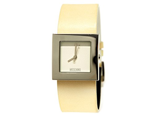 Moschino Time for Peace 2.5 mm x 2.5 mm cadran blanc bracelet cuir crème