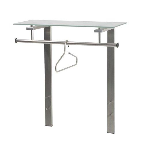 Spinder Design -  Dutch Wandgarderobe / Garderobe - 90x80x33cm - 4 Haken - mit Mattem Glas - Nickel