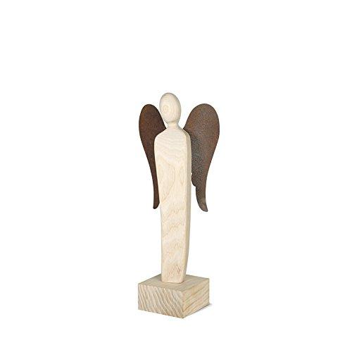 Metallmichl Engel Skulptur 23 cm -Emrudue- Esche Natur mit Rostflügel - Glücksengel