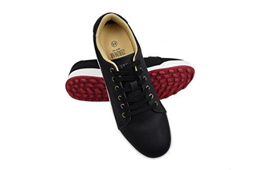 Zerimar Chaussures de Golf pour Hommes | Chaussures de Sport pour Hommes | Chaussures de Sport pour Hommes | Chaussure de Golf en Cuir| Chaussure de Sport | Couleur Noir Taille 42