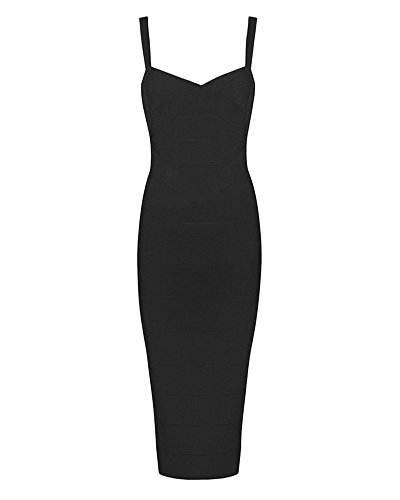 Whoinshop Women's Rayon Strap Mid-calf Length Evening Party Bandage Prom Dress Black XL