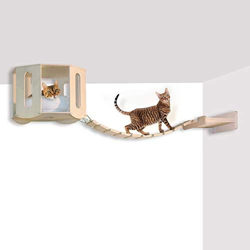 Habicat.it 8033673643580 cuccia da soffitto con ponte tibetano, attrezzata per gatti in legno, sisal ed ecopelliccia