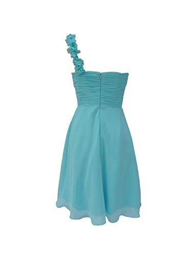 YiYaDawn Kurzes Ein-Schulter Brautjungfernkleid Ballkleid für Damen Rosa