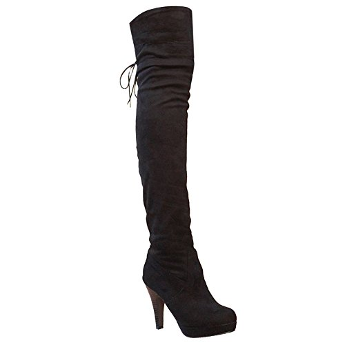 Mee Shoes Damen runde langschaft Plateau adjustable strap Stiefel Schwarz